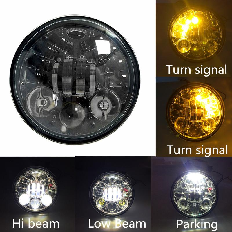 "5 ¾"" Halo & DRL LED Headlights - Eagle Lights 5 3/4"" LED Projector Headlight With Integrated Turn Signals For Harley Davidson 5.75'' LED Projection Head Lamp*"