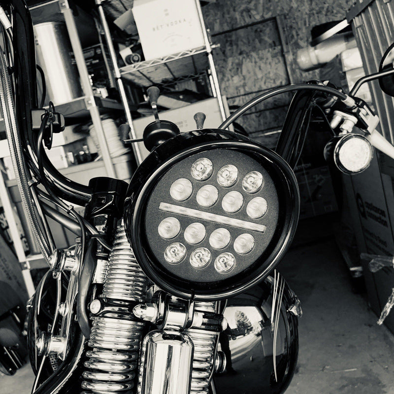 "5 ¾"" Halo & DRL LED Headlights - Eagle Lights 5 3/4"" / 5.75"" Slim Line Multi LED Projection Headlight - Black - Fits All 5 3/4"" Harley Davdison And Indian Headlight Buckets"