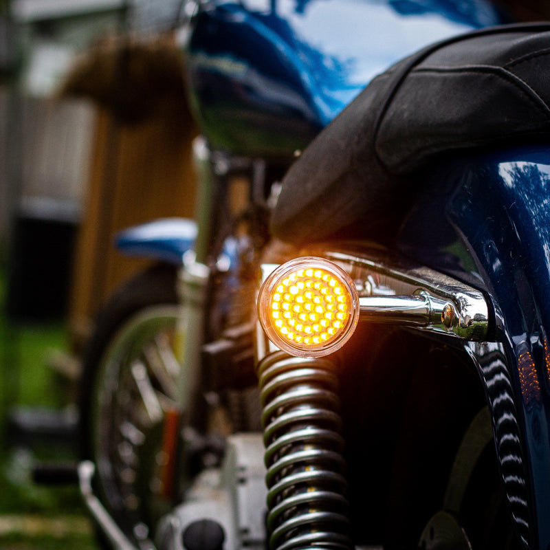 "2"" LED Rear Turn Signals - Eagle Lights 2"" Bullet Style LED Rear Amber Turn Signals (Bikes With Rear Center Tail Light) - Rear Turn Signals (96-13 Softail, Sportster, Dyna, Road King & More)"