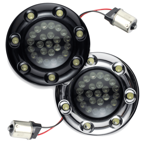 "Eagle Lights 2"" Bullet Rear LED Turn Signals with LED Ring Covers for Harley Davidson - 1156 Base - (2) Rear Turn Signals"