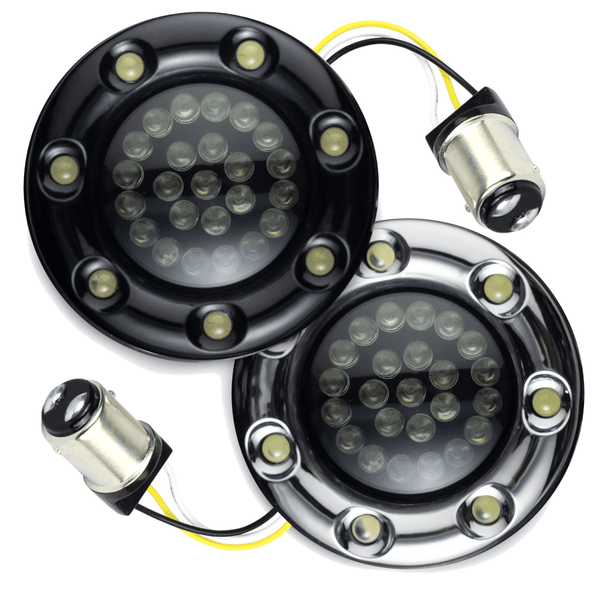 "Eagle Lights 2"" Bullet Front LED Turn Signals w/ Running LED Light Ring Covers for Harley Davidson - (2) Front Turn Signals"