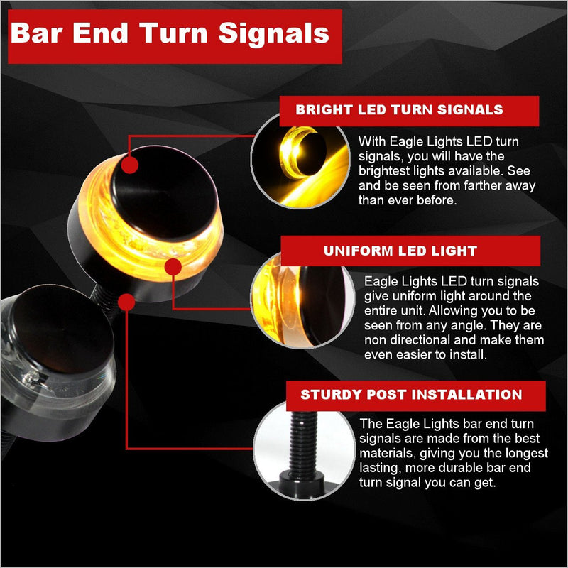 "Specialty LED Turn Signals - Eagle Lights Bar End LED Turn Signals For 7/8"" Handlebars - Pair"
