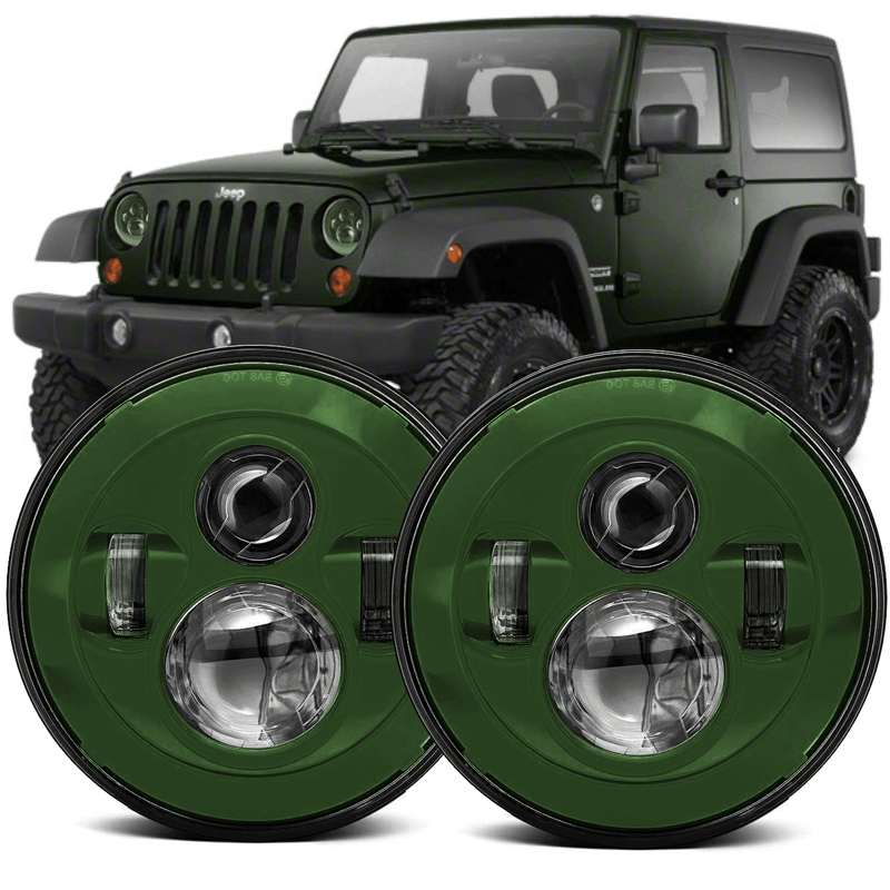 Jeep Colored LED Headlights - Comes with two Headlights and Anti-Flicker Harnesses