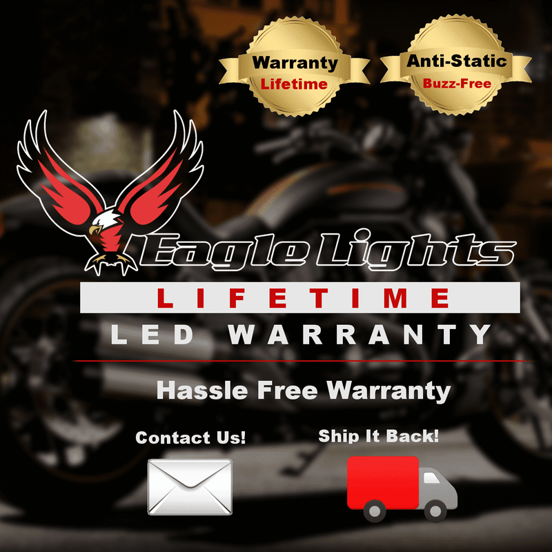 "3 ¼"" LED Turn Signal Kit - Eagle Lights  3 1/4"" Flat Style LED Front (2 X 1157) And Rear Red(2 X 1156) Turn Signals For Harleys"