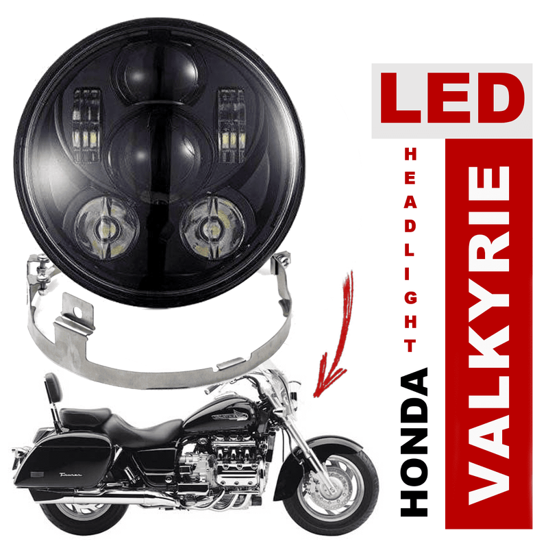 Honda Valkyrie LED Headlights - Eagle Lights 1997-2003 Honda Valkyrie Standard And Touring Models Round Projection LED Headlight