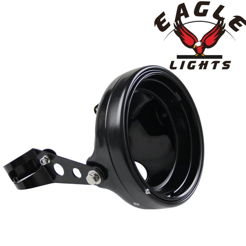 "Eagle Lights 7"" Meteor Headlight Bucket Housing for Motorcycles with 32MM to 40MM Fork Tubes"