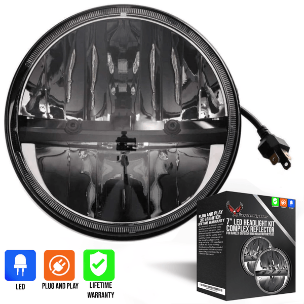 "Eagle Lights 7"" Complex Reflector LED Headlight for Harley Davidson and Indian Motorcycles"