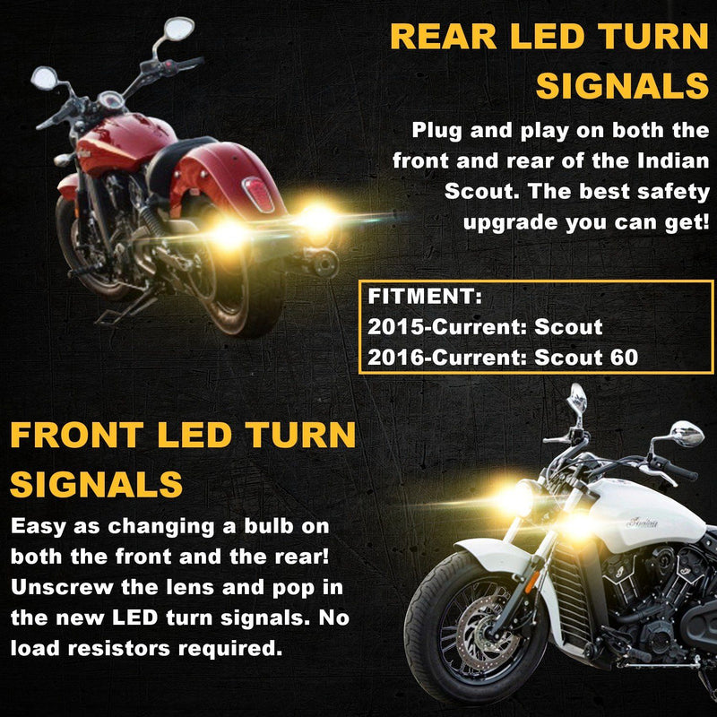 Specialty LED Turn Signals - Indian Scout SUNBURST LED Turn Signals