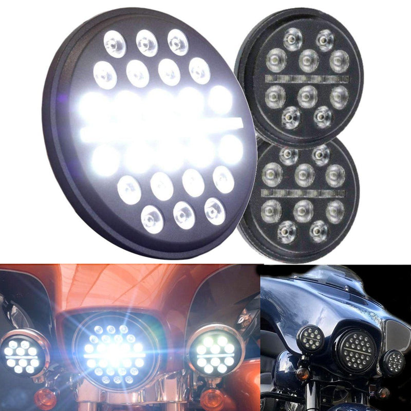 """Halo Ring 7/"""" LED Headlight 4.5/"""" Auxiliary Passing Light For Harley Dyna FLD Slim"""