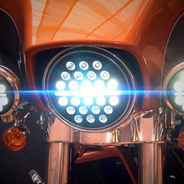 "7"" Halo & DRL LED Headlights - Eagle Lights 7"" SLIM LINE Multi LED Projection Headlight - Black - Fits All 7"" Harley Davidson And Indian Headlight Buckets"