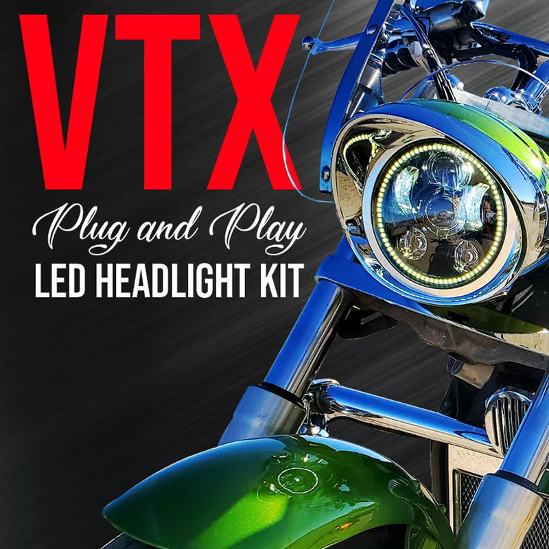 Eagle Lights Generation III LED Headlight with Halo Ring For Honda VTX 1300 and 1800 F-MODEL ONLY- Includes VTX Bracket and Hardware