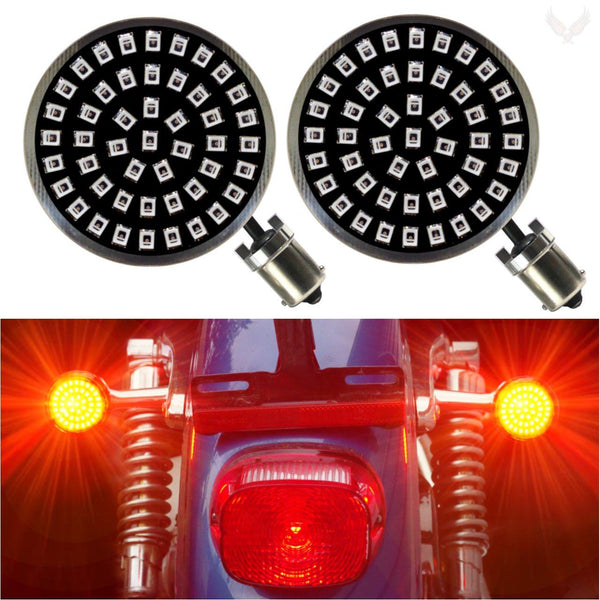 "2"" LED Front Turn Signals - Eagle Lights Midnight Edition Generation II LED Premium Rear Turn Signals - 1156 Base"