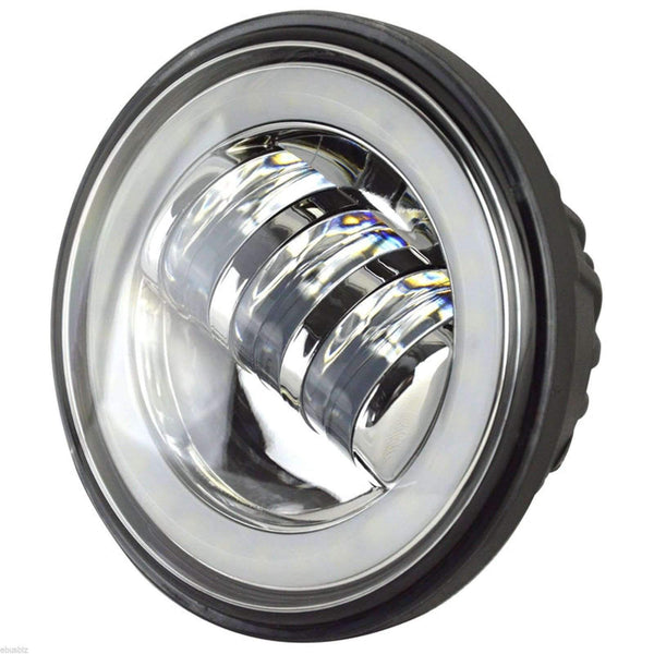"7"" Halo LED Headlight And Halo Passing Lights - Eagle Lights Chrome 9100C Halo Headlight And Halo LED Passing Lights*"