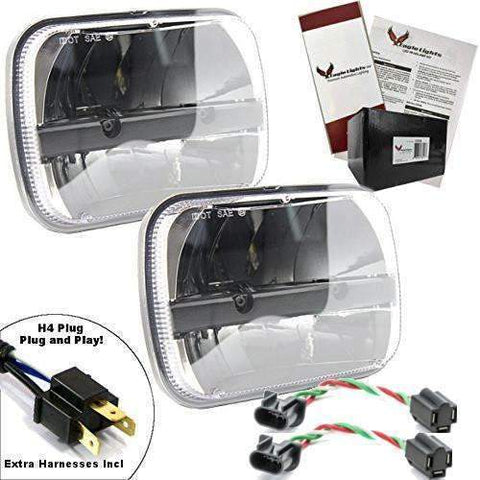 5 X 7 LED Headlights - Eagle Lights Complex Reflector 5 X 7 LED Headlight W/ Negative Harness For Toyota Models