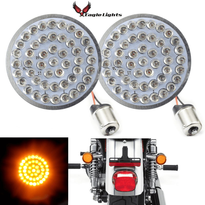 "2"" LED Rear Turn Signals - Eagle Lights 2"" Bullet Style LED Rear Amber Turn Signals - (Bikes With Rear Center Tail Light) - (2) Rear Turn Signals (96-13 Softail, Sportster, Dyna, Road King & More)"