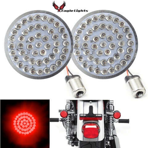 "2"" LED Rear Turn Signals - Eagle Lights 2"" Bullet Style LED Rear Red Turn Signals - (Bikes With Rear Center Tail Light) - (2) Rear Turn Signals (96-13 Softail, Sportster, Dyna, Road King & More)"