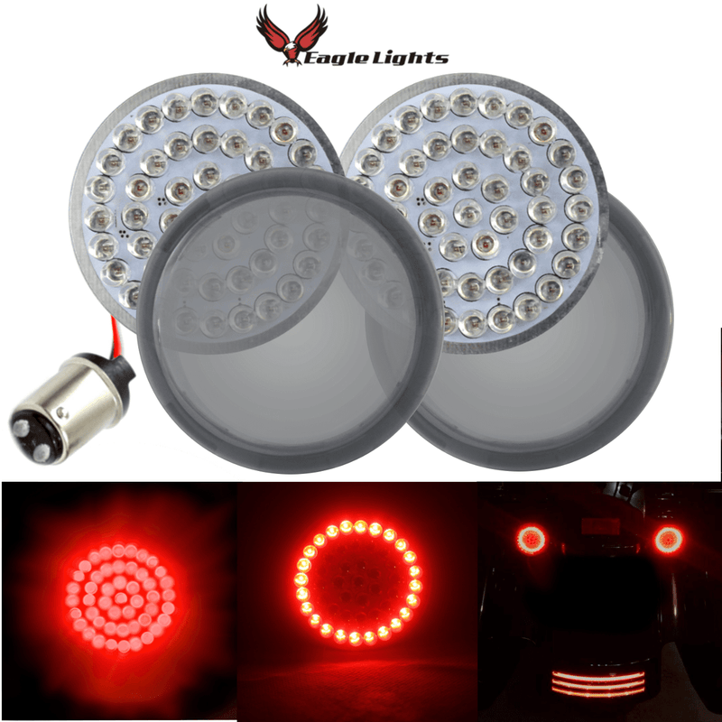 "2"" LED Rear Turn Signals - Eagle Lights 2"" Bullet Style Rear LED Turn And Stop Signal Kit For Harley Davidson - (Bikes W/o Rear Center Tail Light) - (2) Rear Turn Signals"