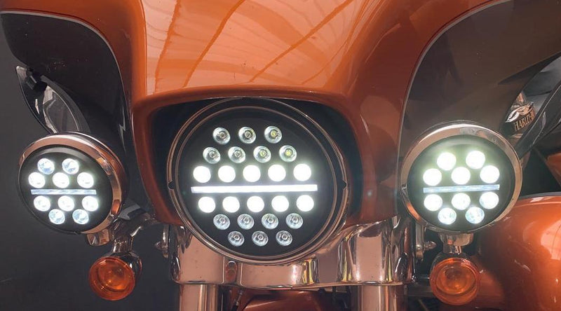 "7"" LED Headlight And Passing Lights - Eagle Lights Slim Line LED Headlight And Auxiliary Light Kit For Harley Davidson / Indian Motorcycle"