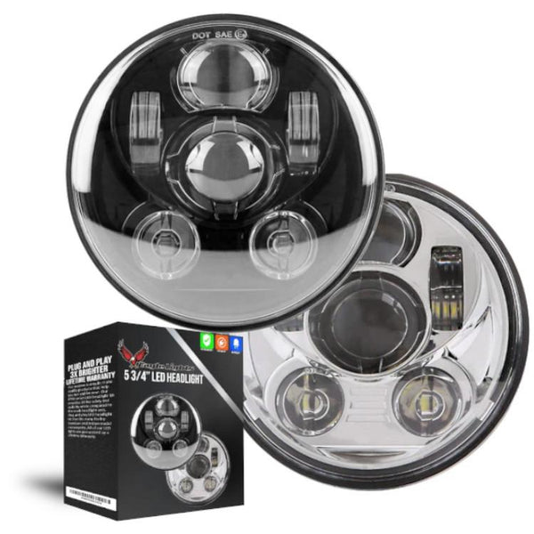 "Eagle Lights 5 3/4"" LED Headlight Kit for Harley Davidson and Indian Motorcycles - Generation III"