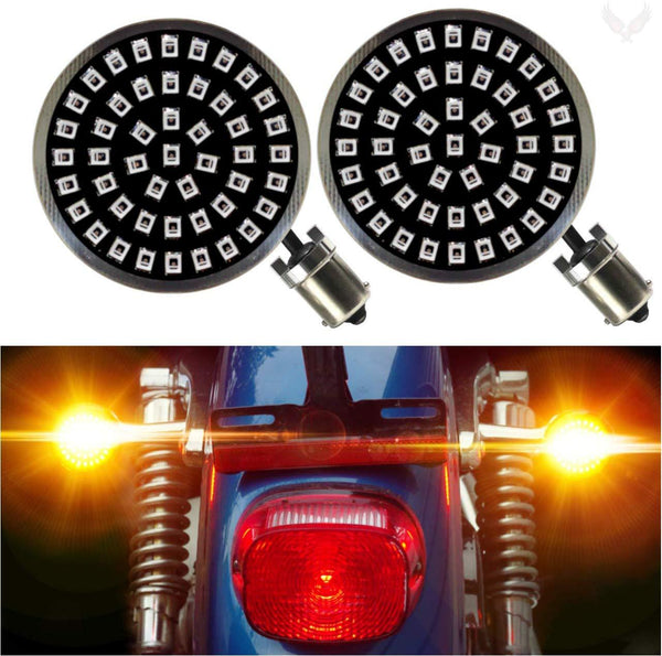 "2"" LED Front Turn Signals - Eagle Lights Midnight Edition Generation II Amber LED Premium Rear Turn Signals - 1156 Base"
