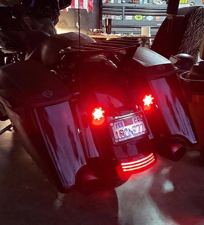 "Eagle Lights 2"" Bullet Rear LED Turn Signals w/ Running and Brake Lights LED Ring Covers for Harley Davidson - (2) Rear Turn Signals"
