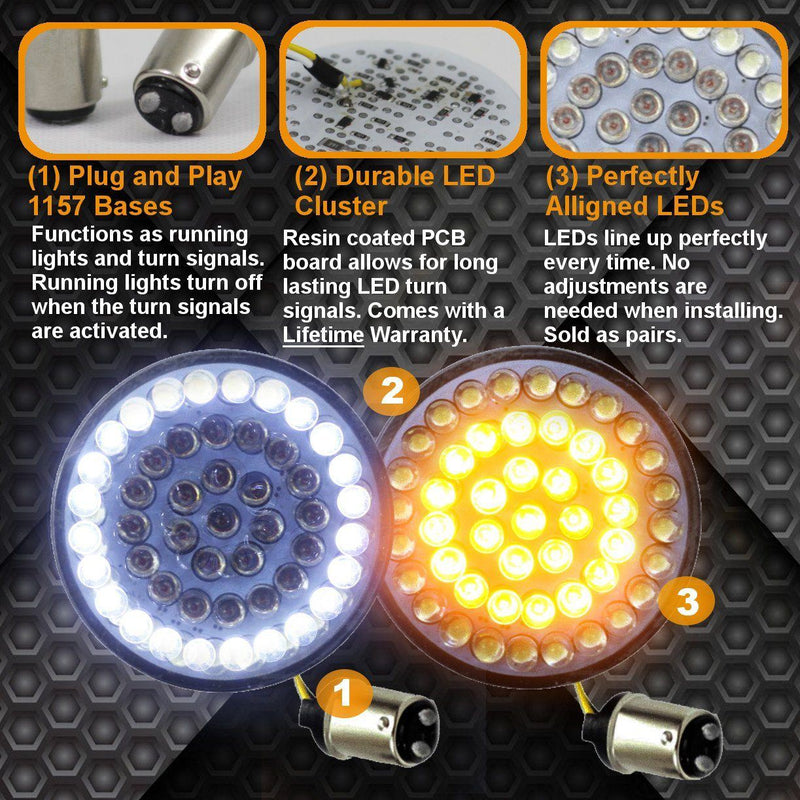 Eagle Lights 2 Bullet Style Front Led Turn Signal W