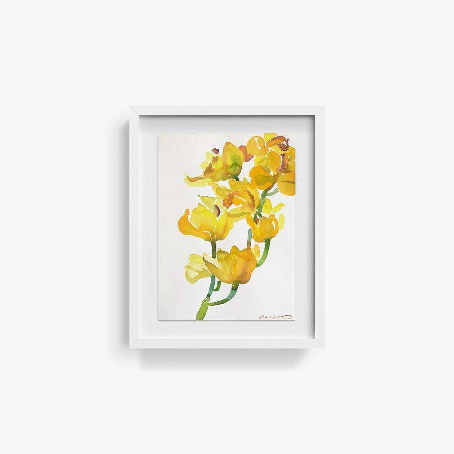 Yellow Orchids, Original Work on Paper  by  Yellow Orchids Tappan