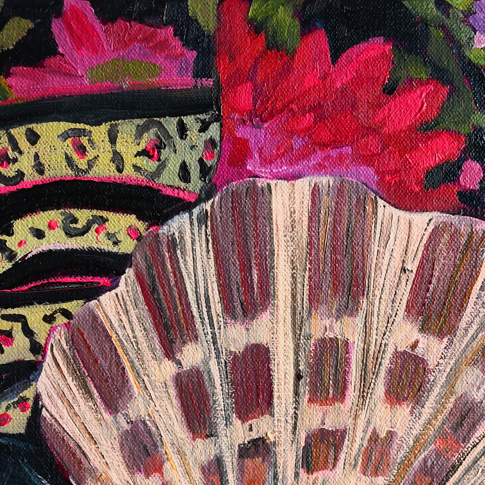Scallop Shell on Tropical Print