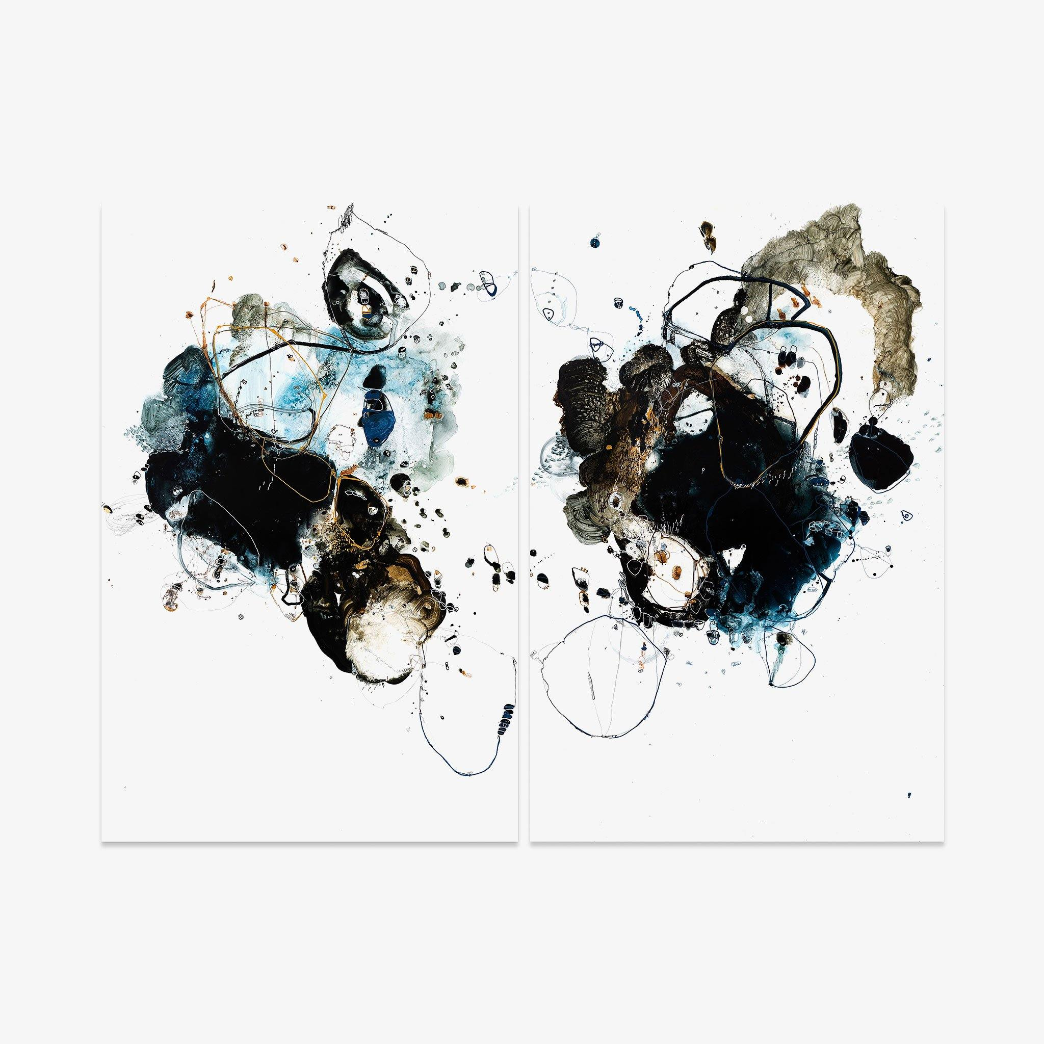 Tidal 9183 (Diptych), Original Work on Paper  by  Tidal 9183 (Diptych) Tappan