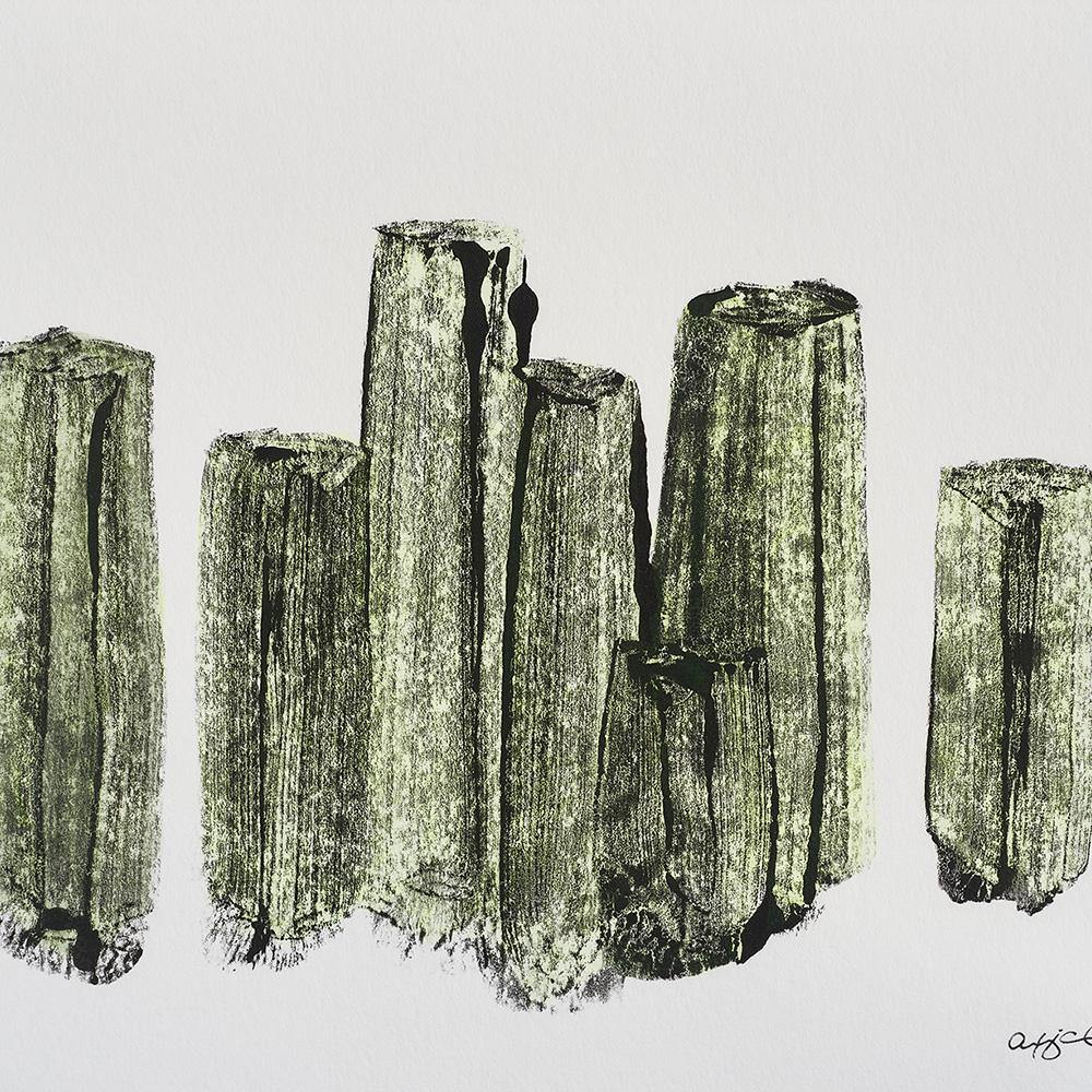 Basalt Column Cluster in Yellow