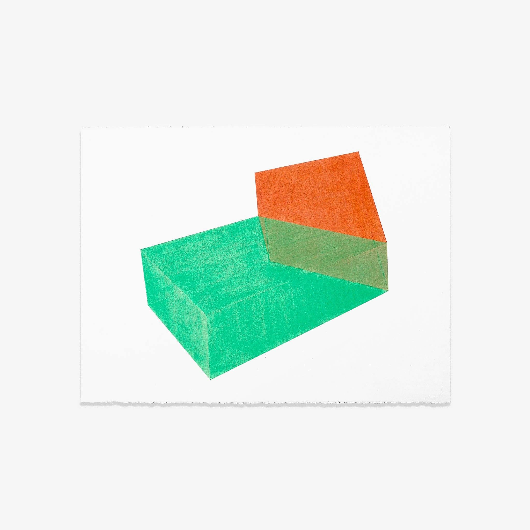 Accidental Happiness, Green + Coral, Drawing  by  Accidental Happiness, Green + Coral Tappan