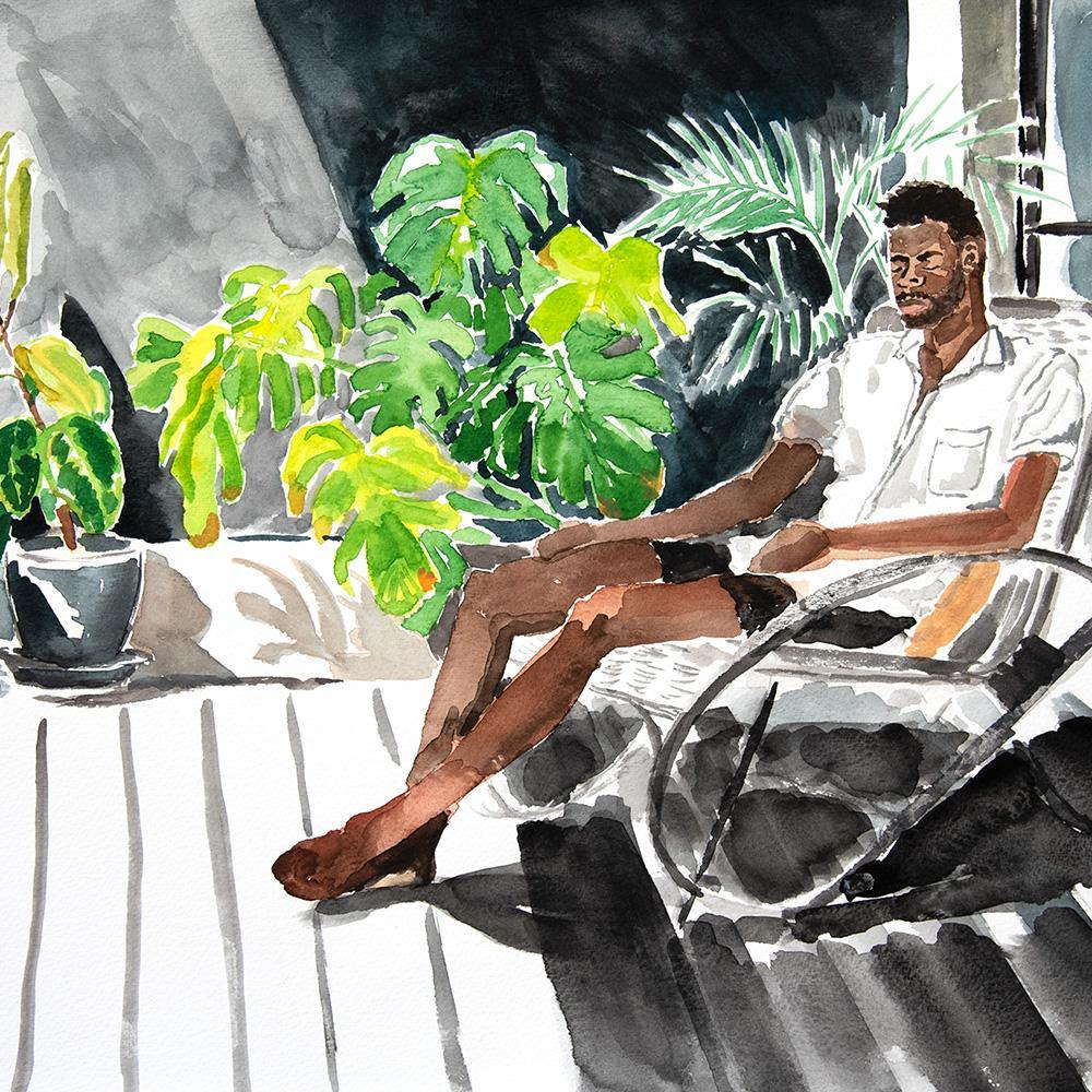 Chris on the Balcony, Original Work on Paper  by  Chris on the Balcony Tappan