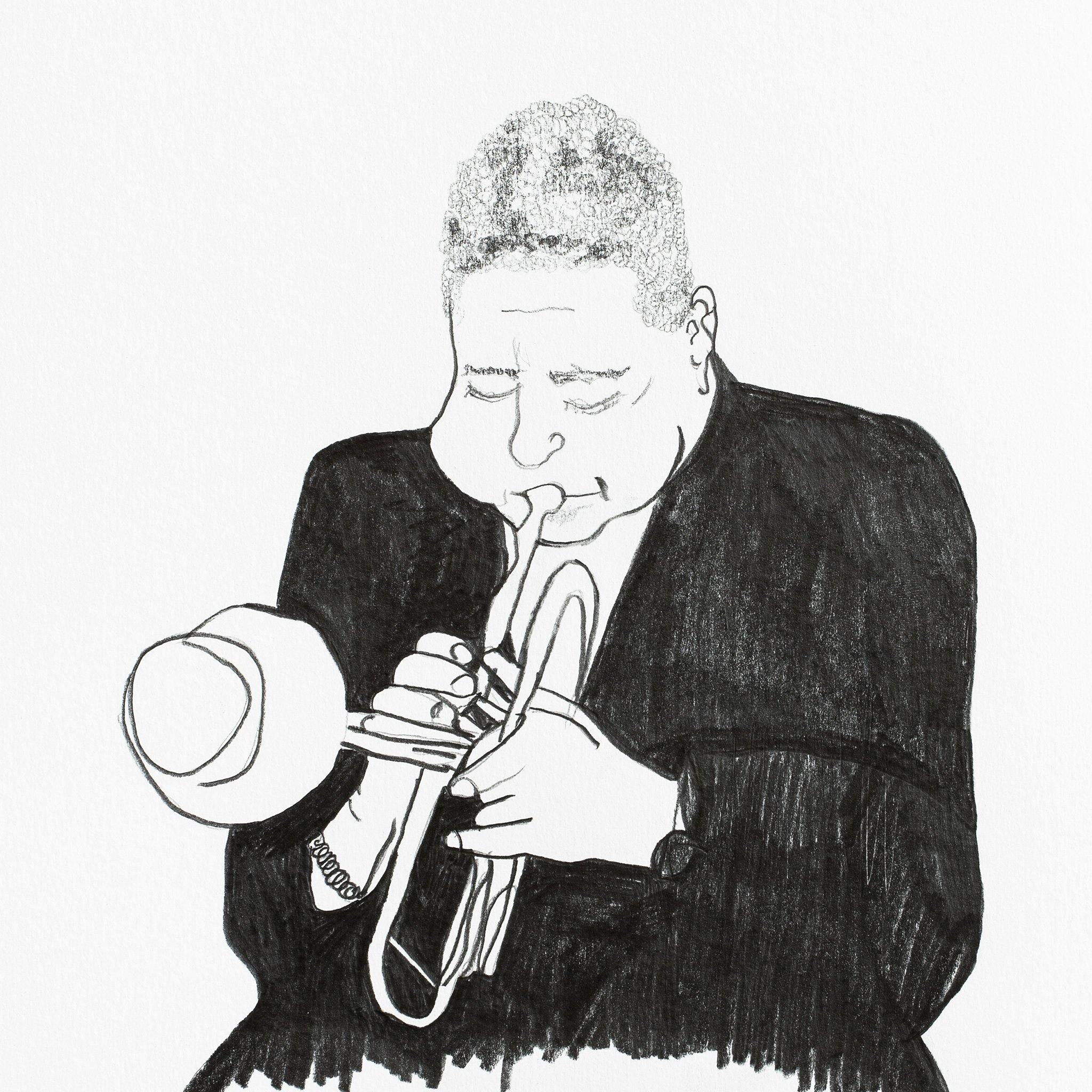 Dizzy Gillespie, Original Work on Paper  by  Dizzy Gillespie Tappan