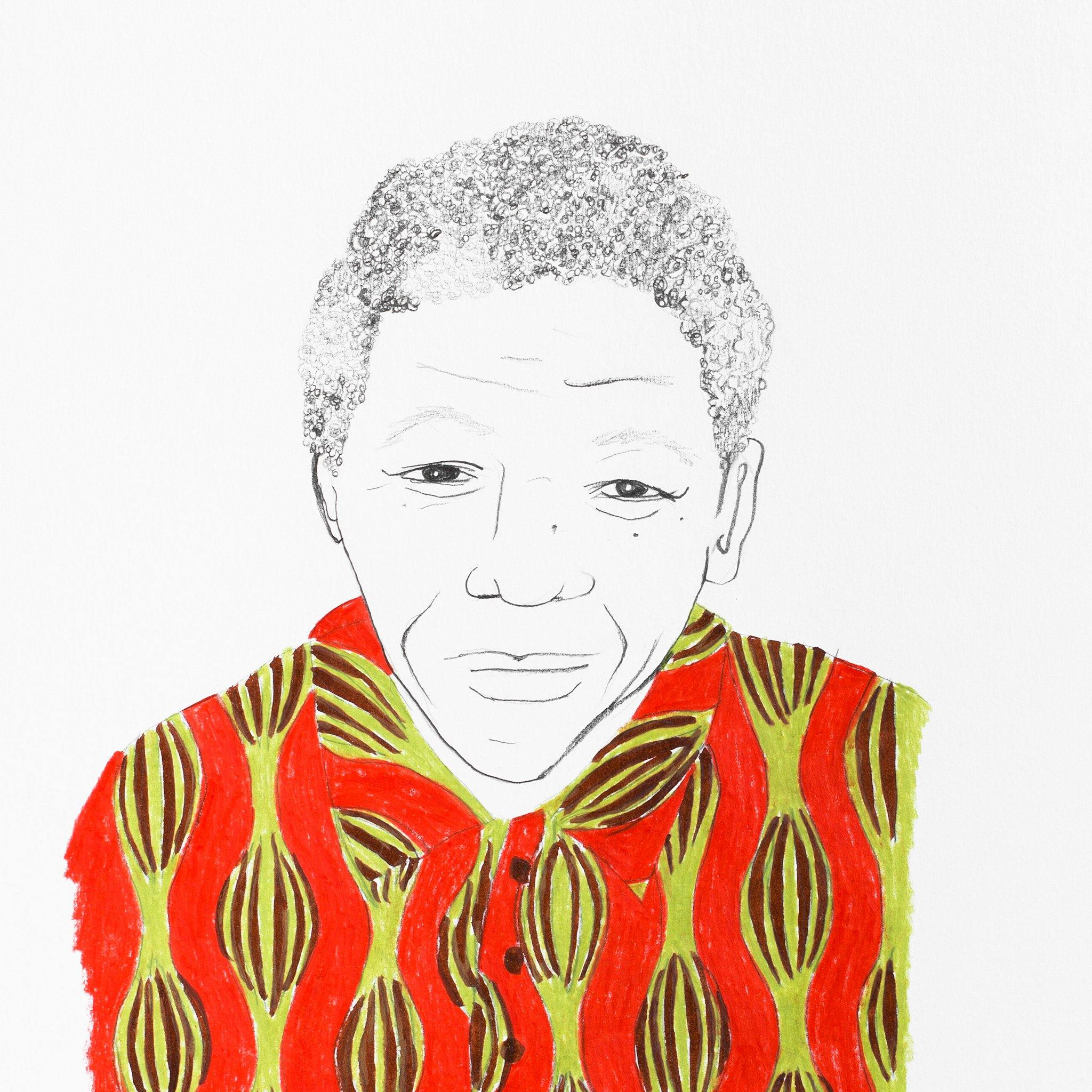 Nelson Mandela, Original Work on Paper  by  Nelson Mandela Tappan