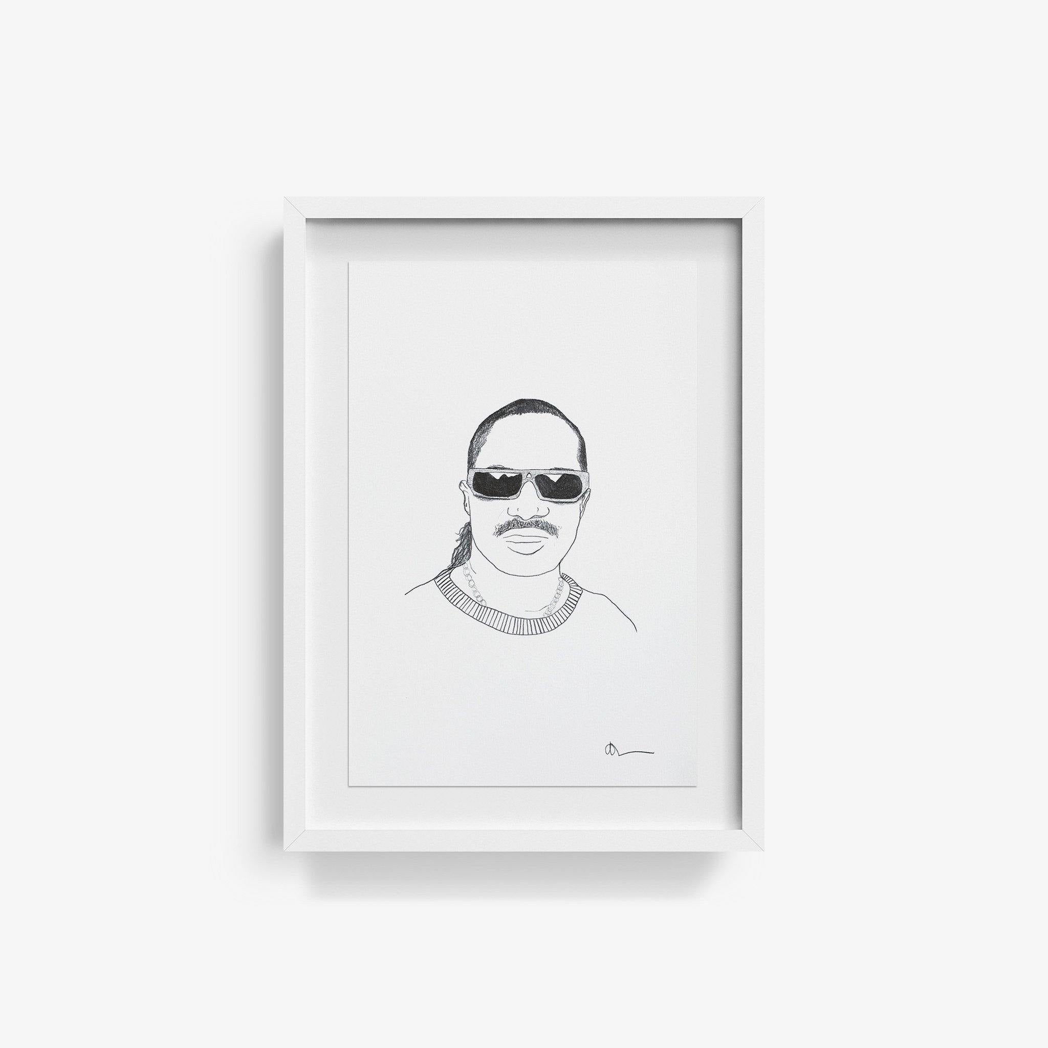 Stevie Wonder, Drawing  by  Stevie Wonder Tappan