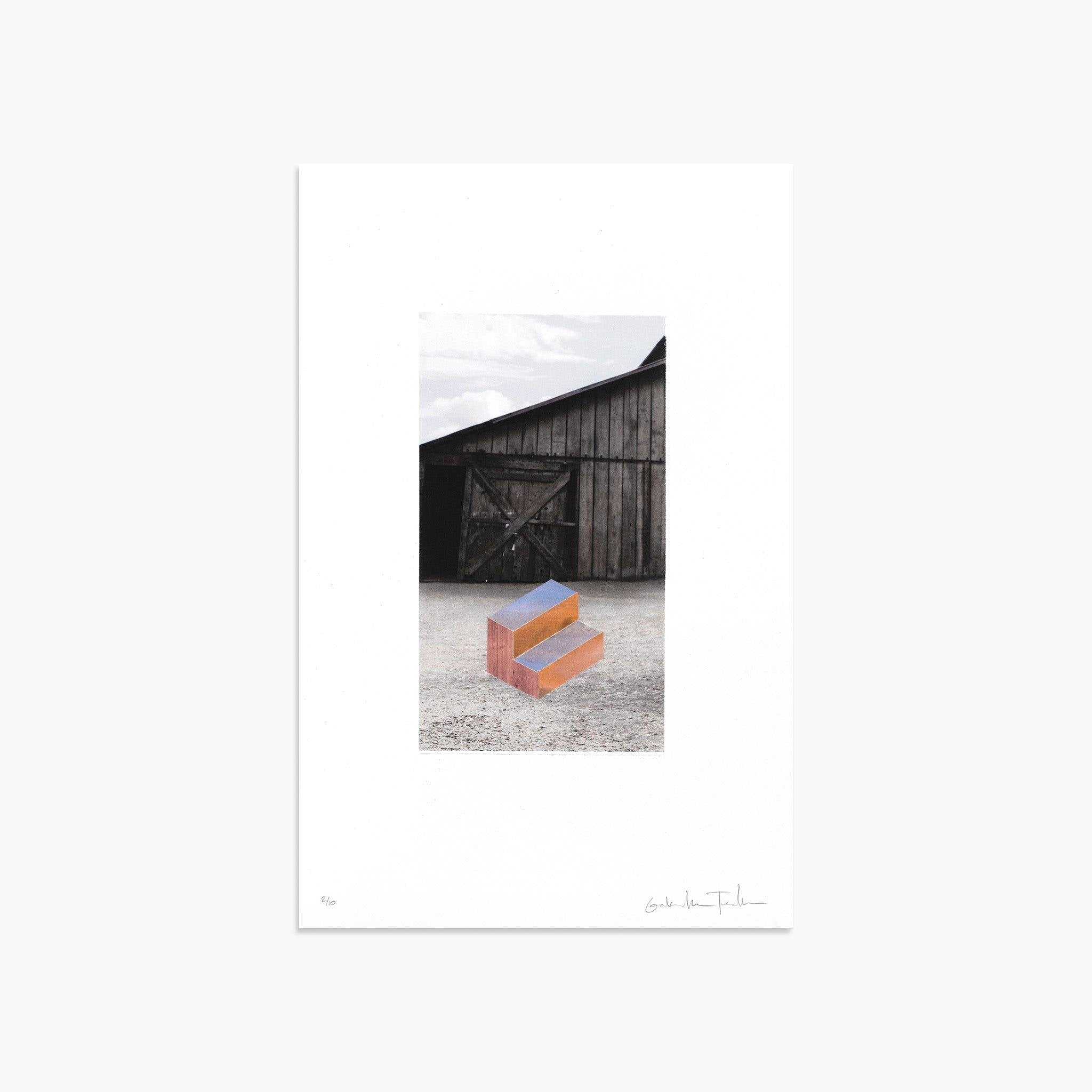 Sunset Stair In Front of a Barn, Print  by  Sunset Stair In Front of a Barn Tappan