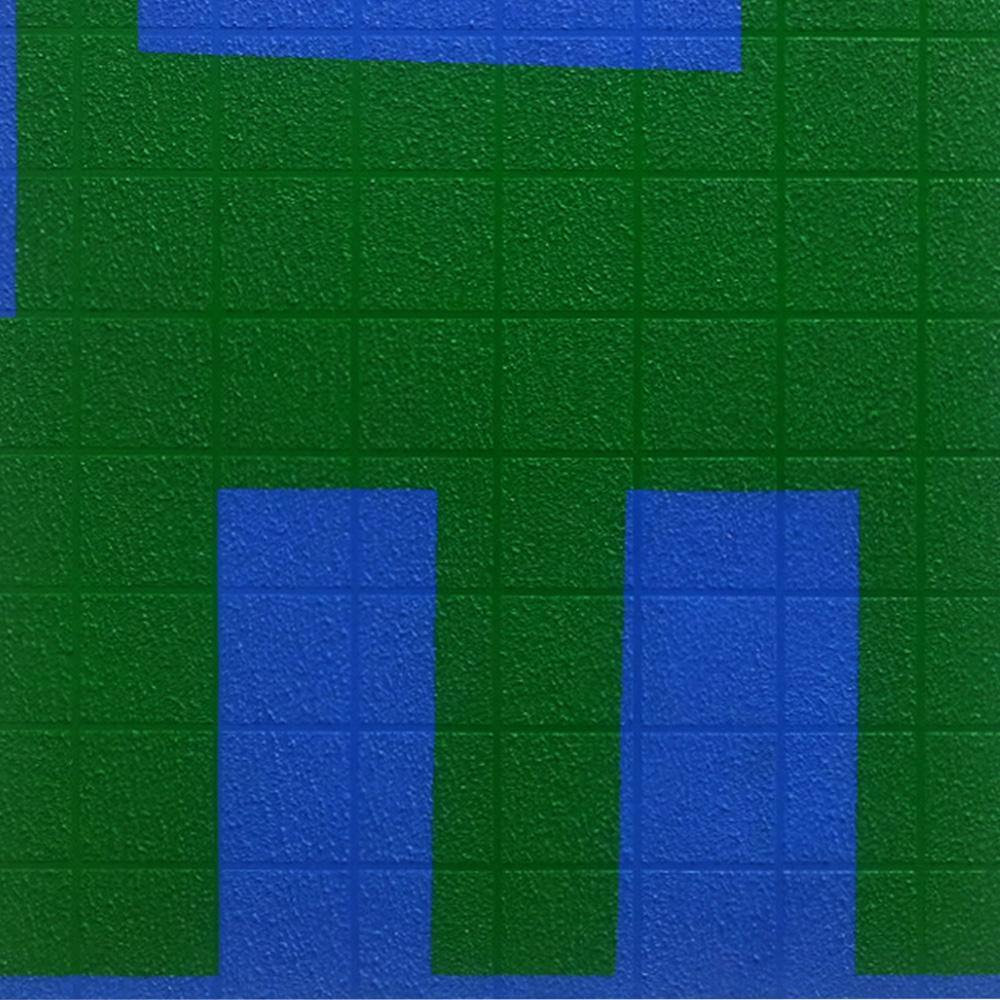 Grid I Green on Blue
