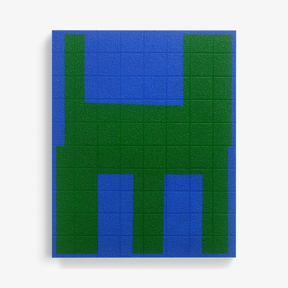 Grid I Green on Blue, Painting  by  Grid I Green on Blue Tappan