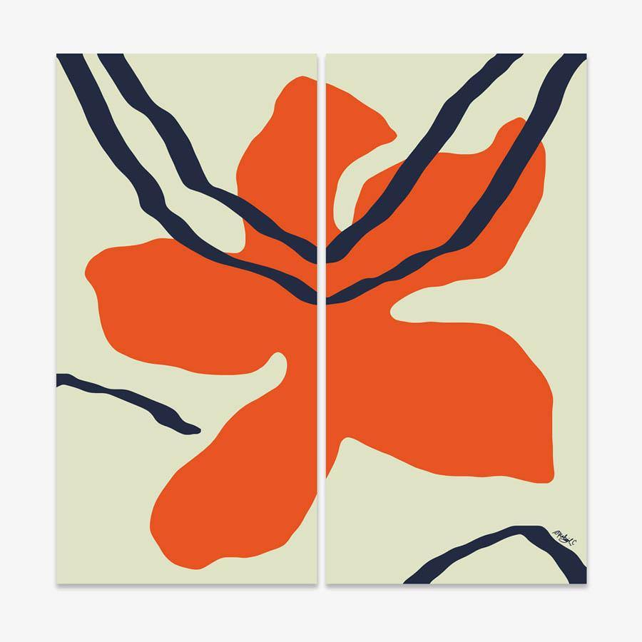 Red Bloom | Diptych, Print  by  Red Bloom | Diptych Tappan