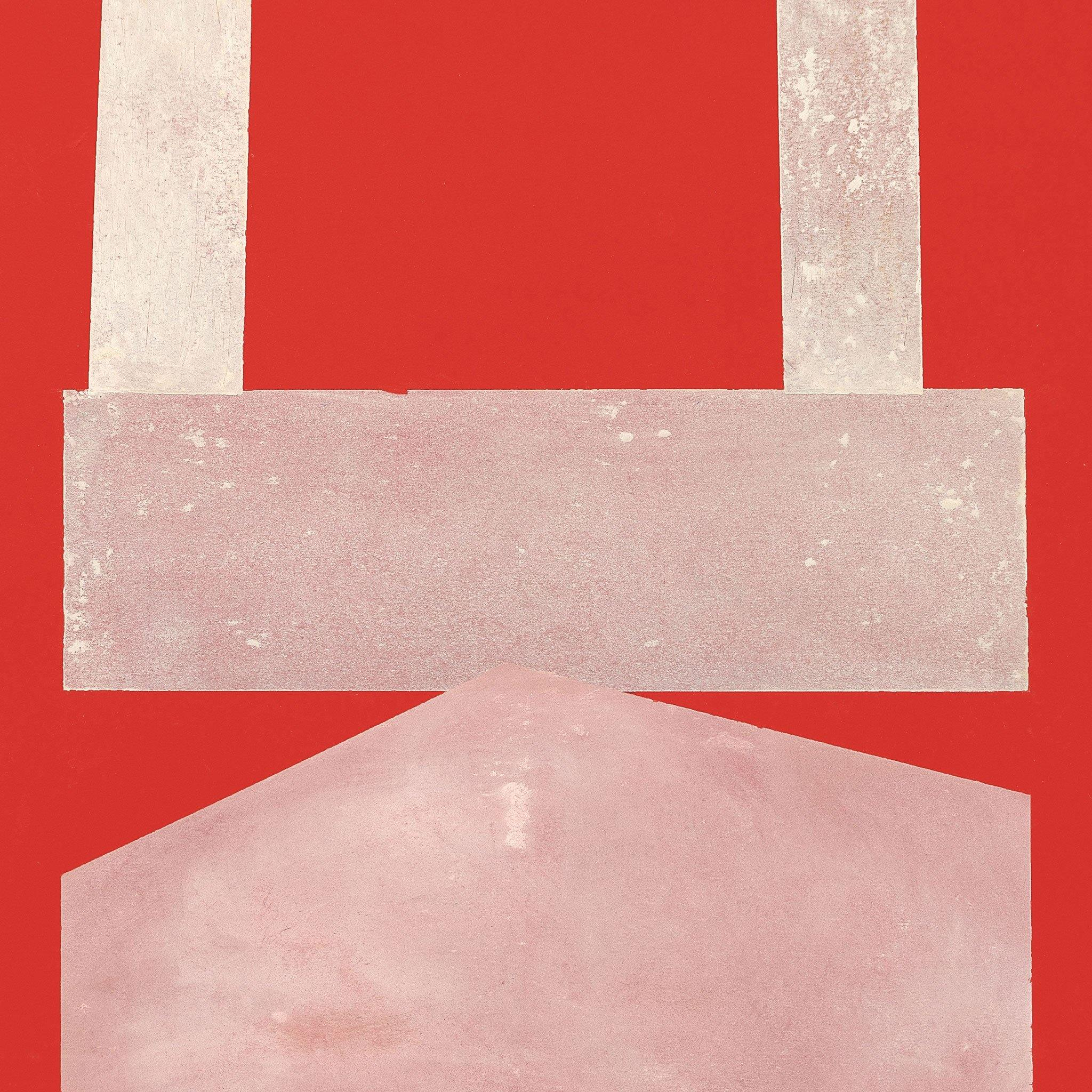 White & Pink on Red Paper I, Original Work on Paper  by  White & Pink on Red Paper I Tappan