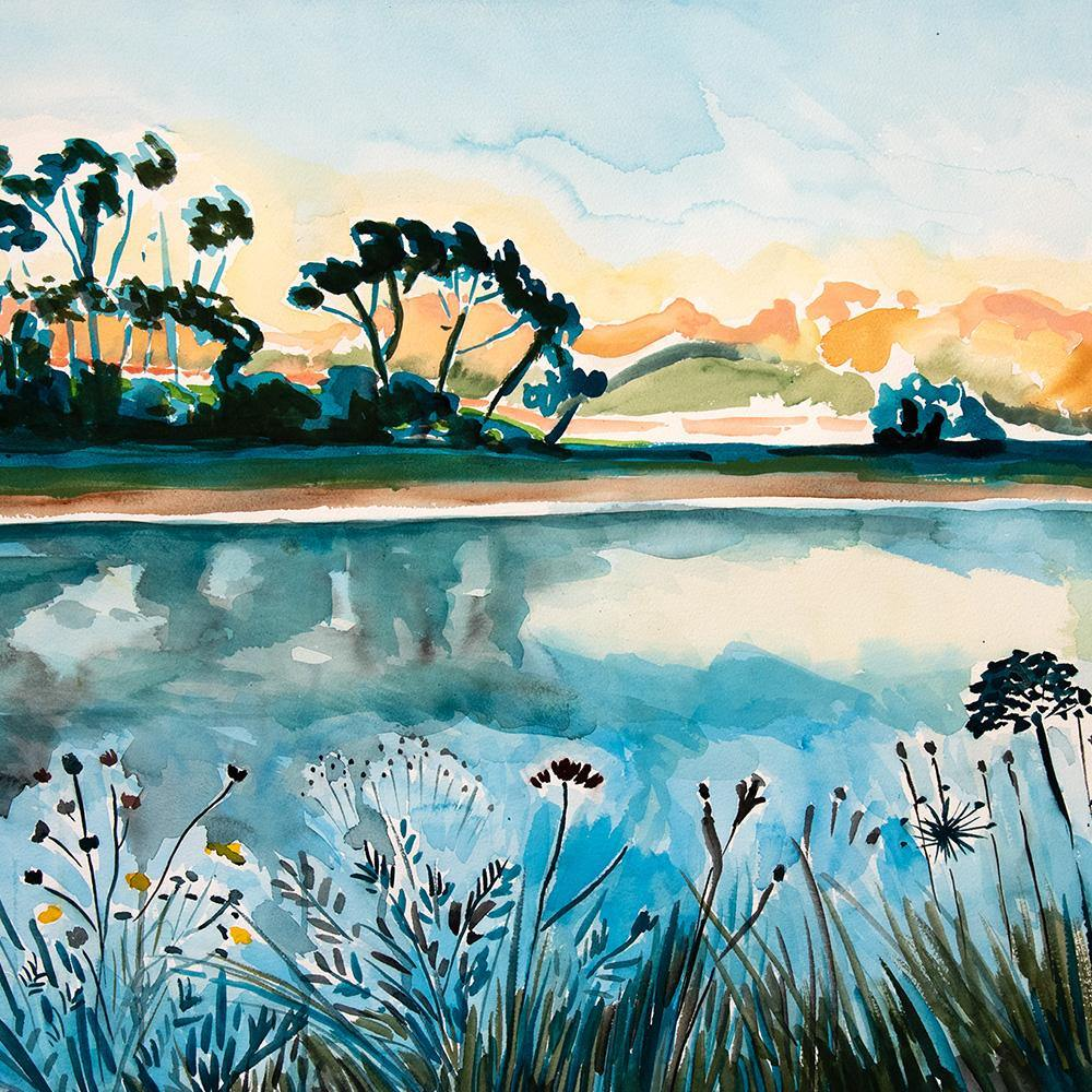 Sunset in Stellenbosch, Original Work on Paper  by  Sunset in Stellenbosch Tappan