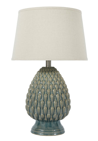 Light teal glaze ceramic table lamp