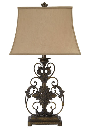 Crackle gold finish metal table lamp.