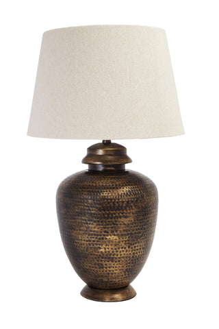 Antique brass finish metal table lamp.
