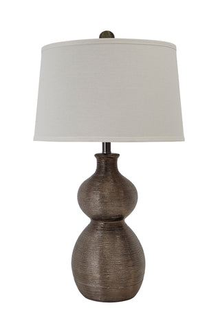 Texture Gunmetal finish table lamp.