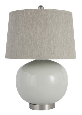 Light gray finished and metal table lamp.