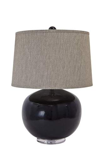 Black finish and acrylic table lamp.