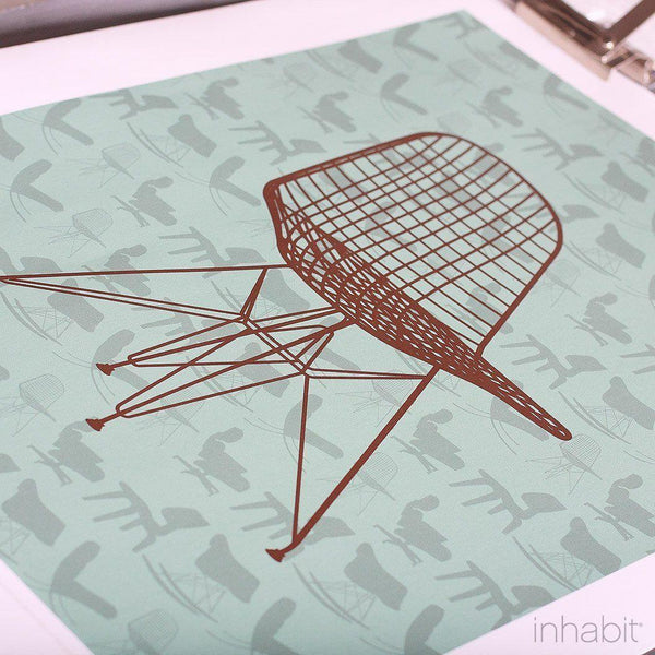 1951 in Cornflower & Chocolate Print - - Art Prints - Inhabitliving.com - Inhabit - 2