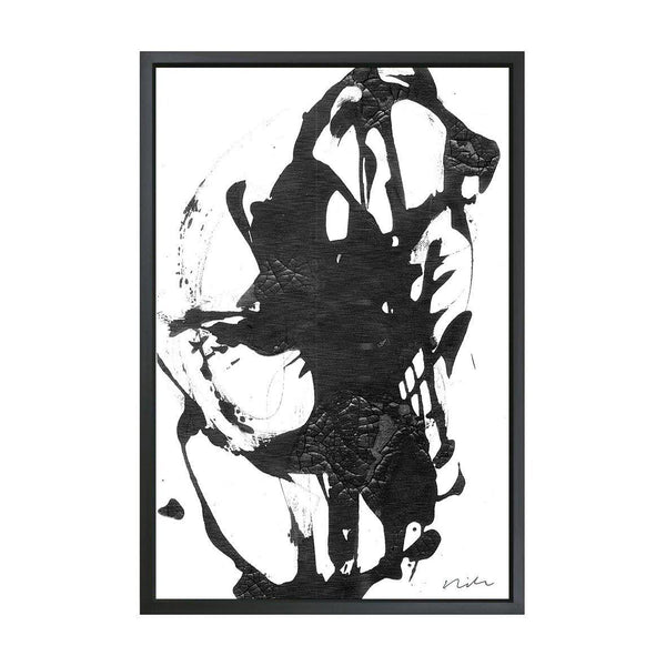Black Ink Framed Art Canvas-Canvas-Inhabit