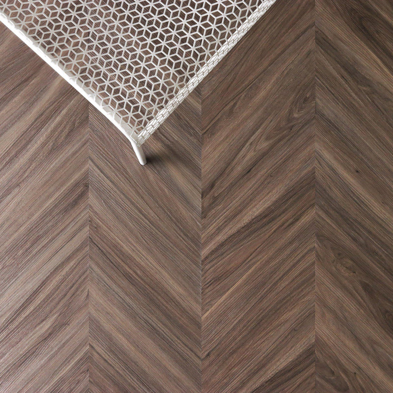 Classic Walnut Peel + Stick Wood Look Herringbone Variplanks